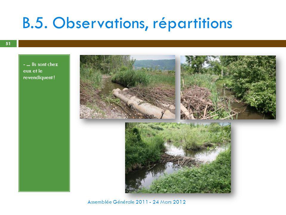 B.5. Observations, répartitions Assemblée Générale 2011 - 24 Mars 2012 51 -... Ils sont chez eux et le revendiquent !