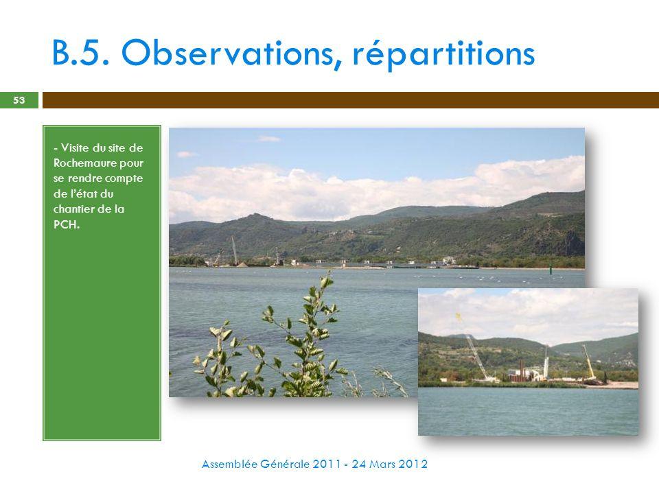 B.5. Observations, répartitions Assemblée Générale 2011 - 24 Mars 2012 53 - Visite du site de Rochemaure pour se rendre compte de létat du chantier de