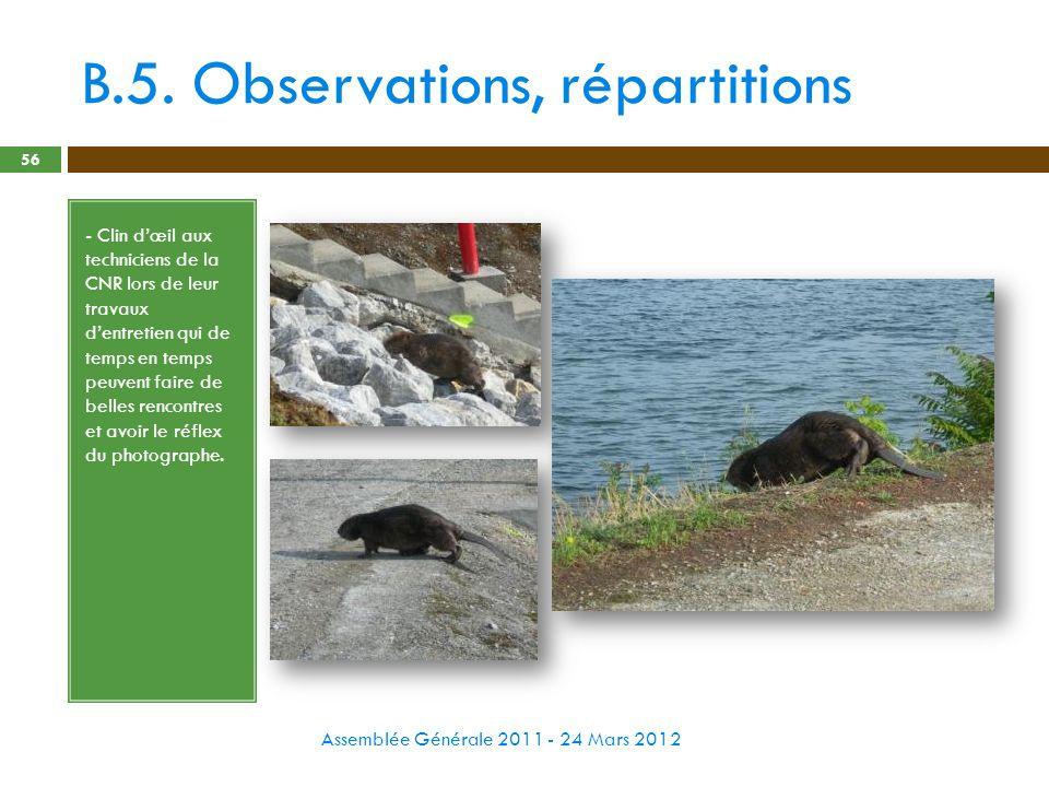 B.5. Observations, répartitions Assemblée Générale 2011 - 24 Mars 2012 56 - Clin dœil aux techniciens de la CNR lors de leur travaux dentretien qui de