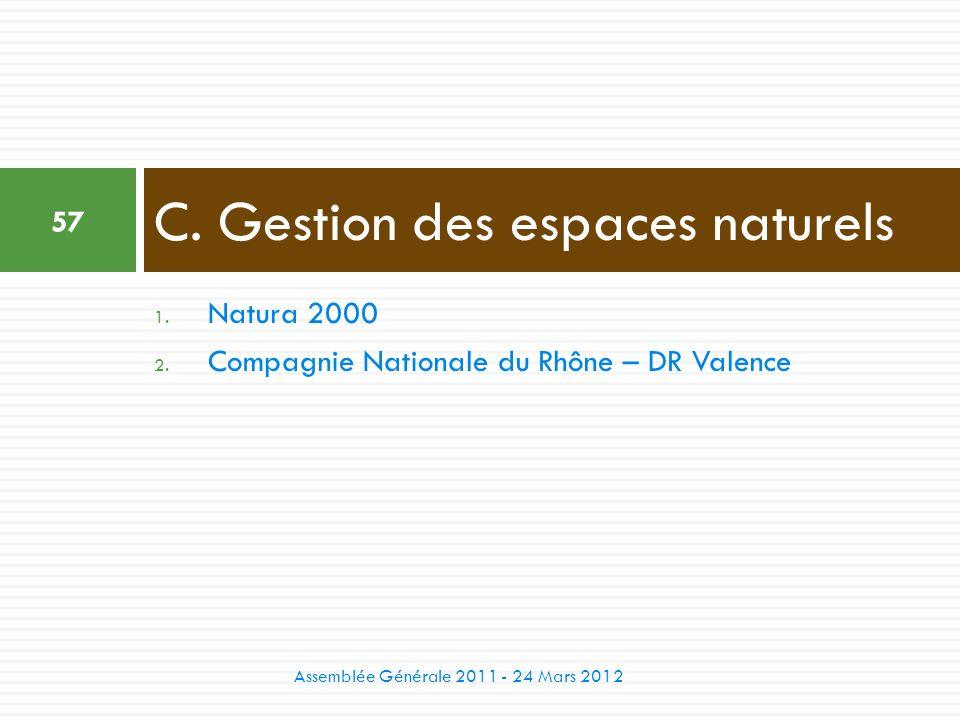 1. Natura 2000 2. Compagnie Nationale du Rhône – DR Valence C. Gestion des espaces naturels 57 Assemblée Générale 2011 - 24 Mars 2012