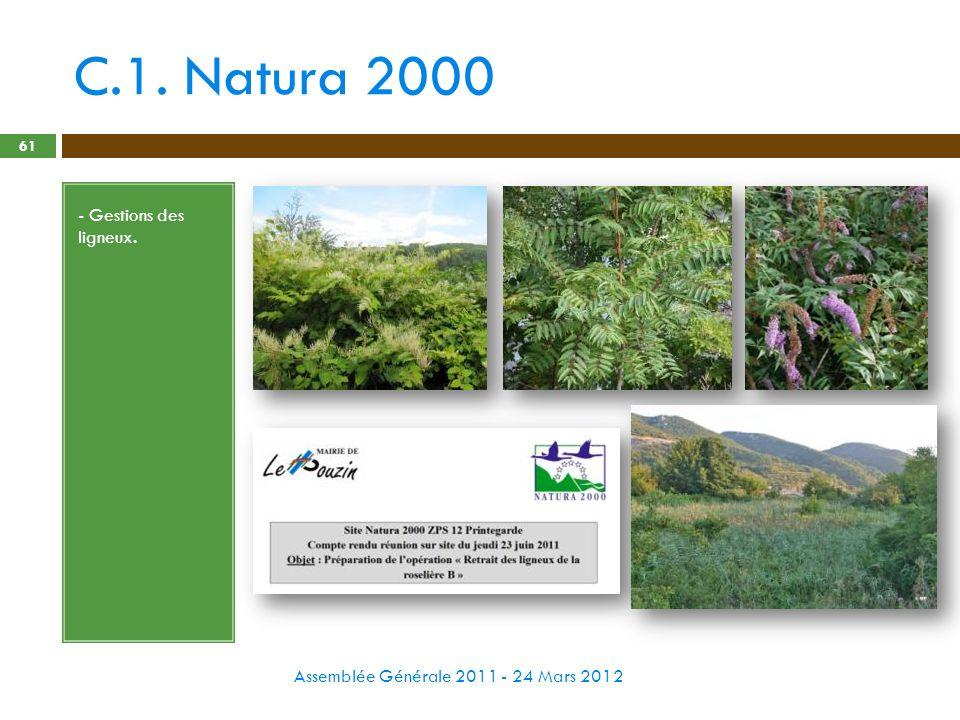 C.1. Natura 2000 Assemblée Générale 2011 - 24 Mars 2012 61 - Gestions des ligneux.