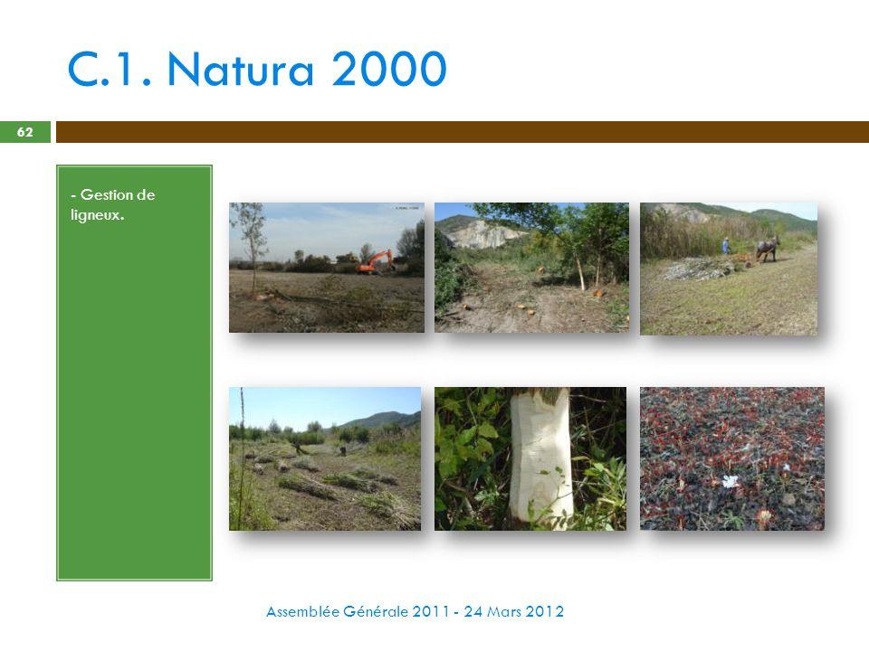 C.1. Natura 2000 Assemblée Générale 2011 - 24 Mars 2012 62 - Gestion de ligneux.