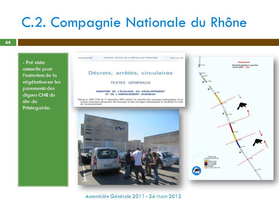 C.2. Compagnie Nationale du Rhône Assemblée Générale 2011 - 24 Mars 2012 64 - Pré visite annuelle pour lentretien de la végétation sur les parements d