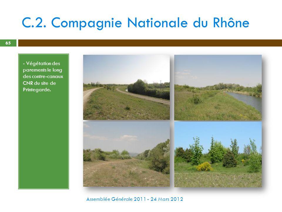 C.2. Compagnie Nationale du Rhône Assemblée Générale 2011 - 24 Mars 2012 65 - Végétation des parements le long des contre-canaux CNR du site de Printe