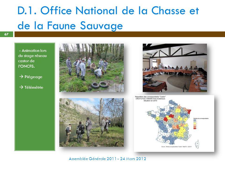 D.1. Office National de la Chasse et de la Faune Sauvage Assemblée Générale 2011 - 24 Mars 2012 67 - - Animation lors du stage réseau castor de lONCFS