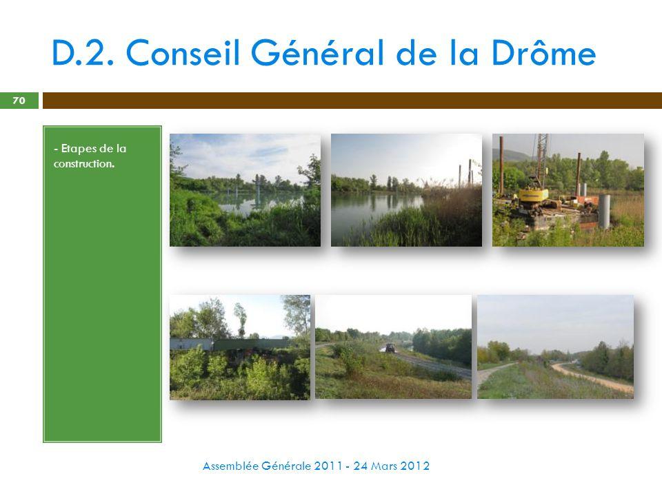 D.2. Conseil Général de la Drôme Assemblée Générale 2011 - 24 Mars 2012 70 - Etapes de la construction.