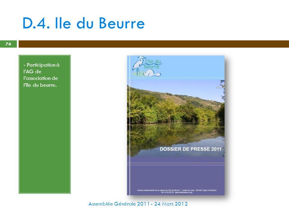 D.4. Ile du Beurre Assemblée Générale 2011 - 24 Mars 2012 74 - Participation à lAG de lassociation de lîle du beurre.