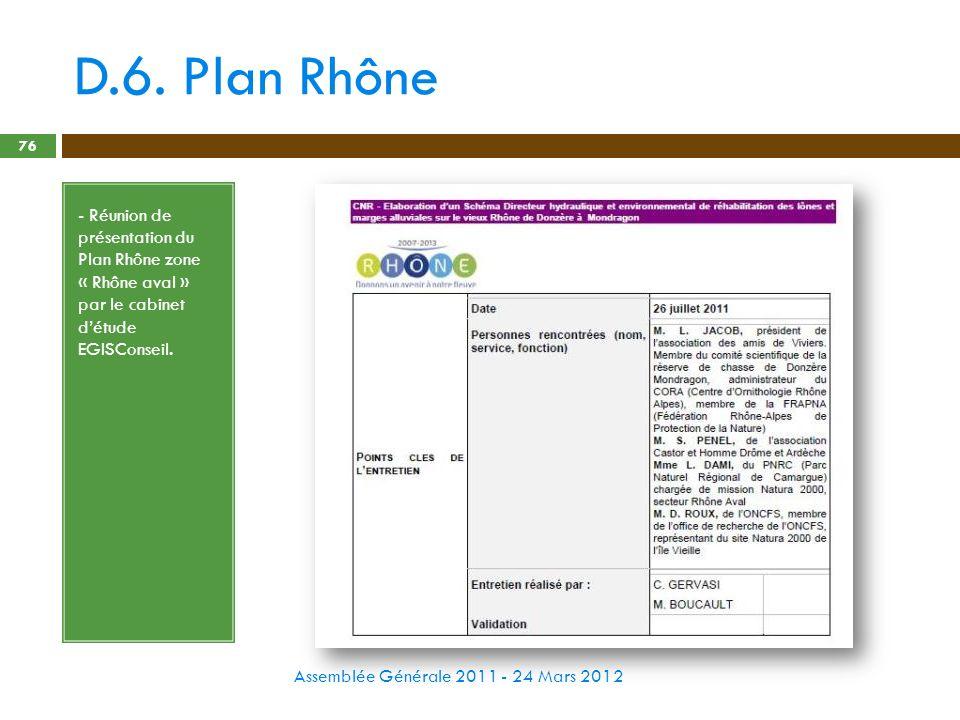 D.6. Plan Rhône Assemblée Générale 2011 - 24 Mars 2012 76 - Réunion de présentation du Plan Rhône zone « Rhône aval » par le cabinet détude EGISConsei