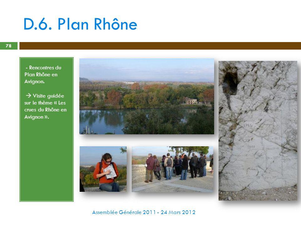 D.6. Plan Rhône Assemblée Générale 2011 - 24 Mars 2012 78 - - Rencontres du Plan Rhône en Avignon. - Visite guidée sur le thème « Les crues du Rhône e