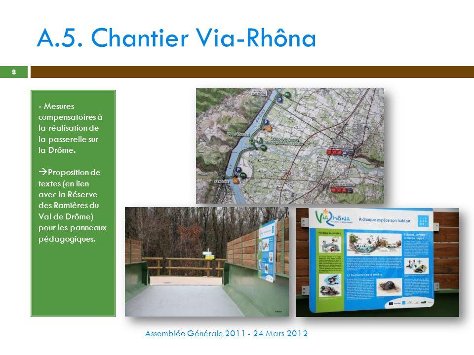 A.5. Chantier Via-Rhôna Assemblée Générale 2011 - 24 Mars 2012 8 - Mesures compensatoires à la réalisation de la passerelle sur la Drôme. Proposition