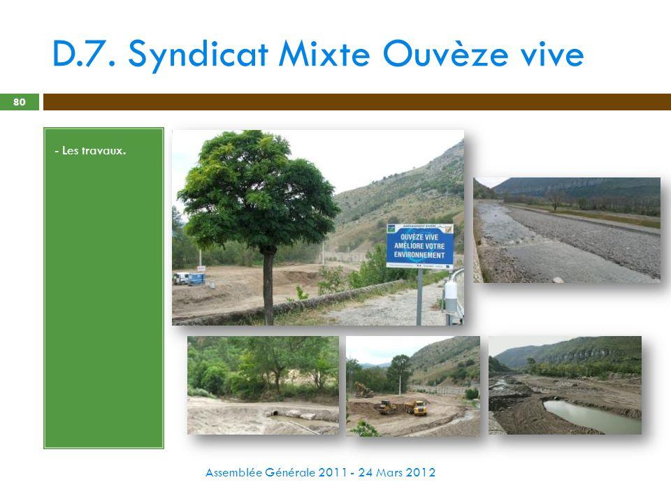D.7. Syndicat Mixte Ouvèze vive Assemblée Générale 2011 - 24 Mars 2012 80 - Les travaux.