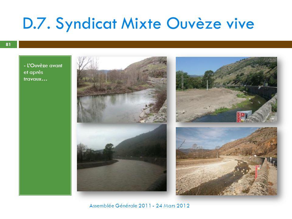 D.7. Syndicat Mixte Ouvèze vive Assemblée Générale 2011 - 24 Mars 2012 81 - LOuvèze avant et après travaux…
