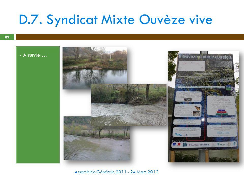 D.7. Syndicat Mixte Ouvèze vive Assemblée Générale 2011 - 24 Mars 2012 82 - A suivre …