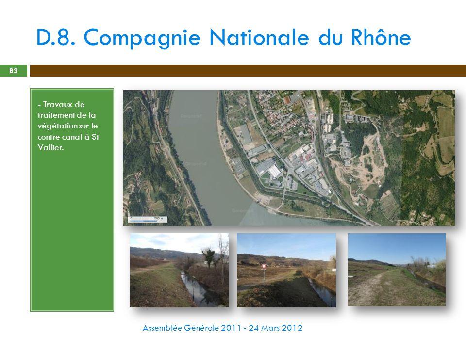 D.8. Compagnie Nationale du Rhône Assemblée Générale 2011 - 24 Mars 2012 83 - Travaux de traitement de la végétation sur le contre canal à St Vallier.
