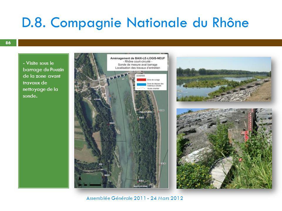 D.8. Compagnie Nationale du Rhône Assemblée Générale 2011 - 24 Mars 2012 86 - Visite sous le barrage du Pouzin de la zone avant travaux de nettoyage d