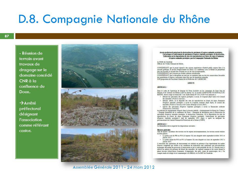 D.8. Compagnie Nationale du Rhône Assemblée Générale 2011 - 24 Mars 2012 87 - Réunion de terrain avant travaux de dragage sur le domaine concédé CNR à