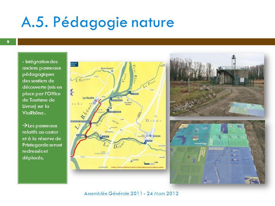 A.5. Pédagogie nature Assemblée Générale 2011 - 24 Mars 2012 9 - Intégration des anciens panneaux pédagogiques des sentiers de découverte (mis en plac