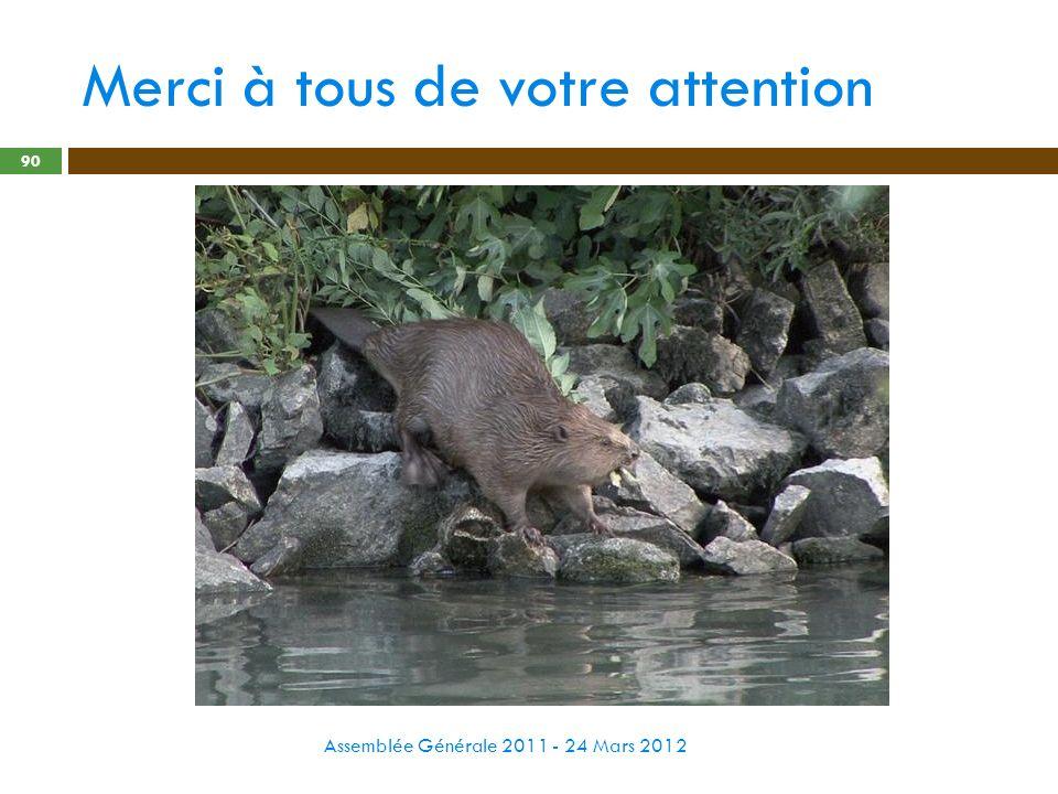 Merci à tous de votre attention Assemblée Générale 2011 - 24 Mars 2012 90