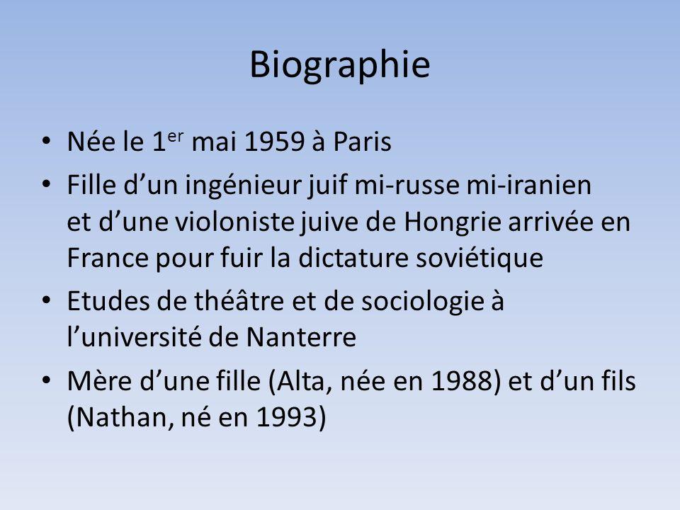 Biographie Née le 1 er mai 1959 à Paris Fille dun ingénieur juif mi-russe mi-iranien et dune violoniste juive de Hongrie arrivée en France pour fuir l