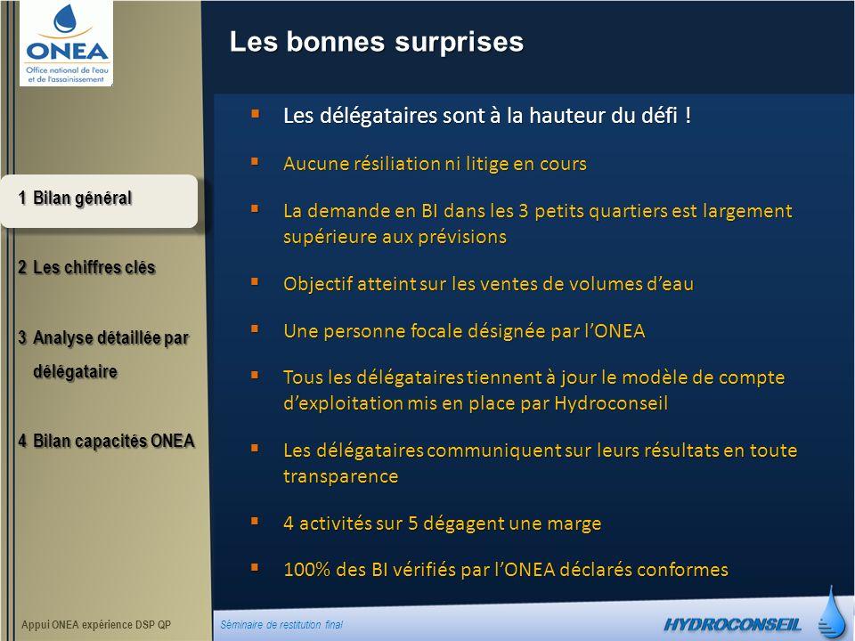 Les bonnes surprises 1Bilan général 2Les chiffres clés 3Analyse détaillée par délégataire 4Bilan capacités ONEA Appui ONEA expérience DSP QP Séminaire de restitution final Les délégataires sont à la hauteur du défi .