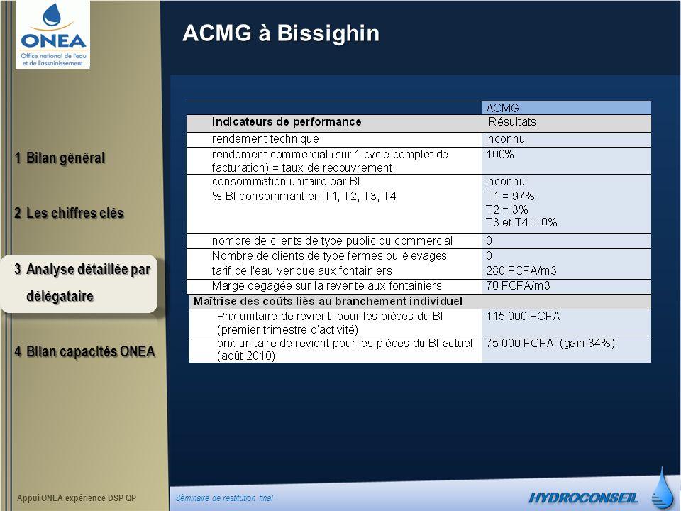 ACMG à Bissighin 1Bilan général 2Les chiffres clés 3Analyse détaillée par délégataire 4Bilan capacités ONEA Appui ONEA expérience DSP QP Séminaire de restitution final