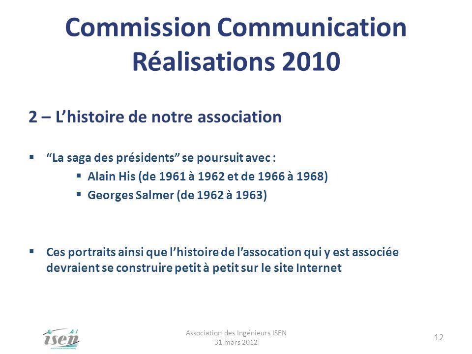 Commission Communication Réalisations 2010 2 – Lhistoire de notre association La saga des présidents se poursuit avec : Alain His (de 1961 à 1962 et d