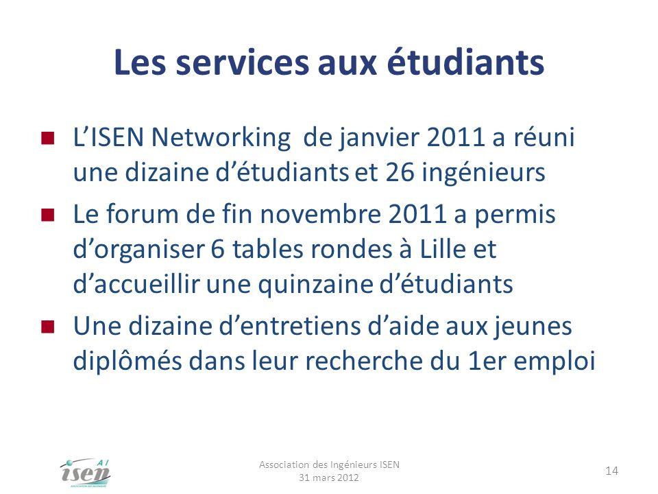 Les services aux étudiants LISEN Networking de janvier 2011 a réuni une dizaine détudiants et 26 ingénieurs Le forum de fin novembre 2011 a permis dor