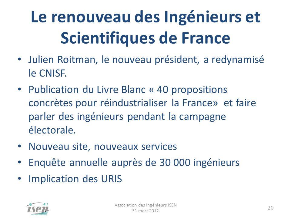 Le renouveau des Ingénieurs et Scientifiques de France Julien Roitman, le nouveau président, a redynamisé le CNISF. Publication du Livre Blanc « 40 pr