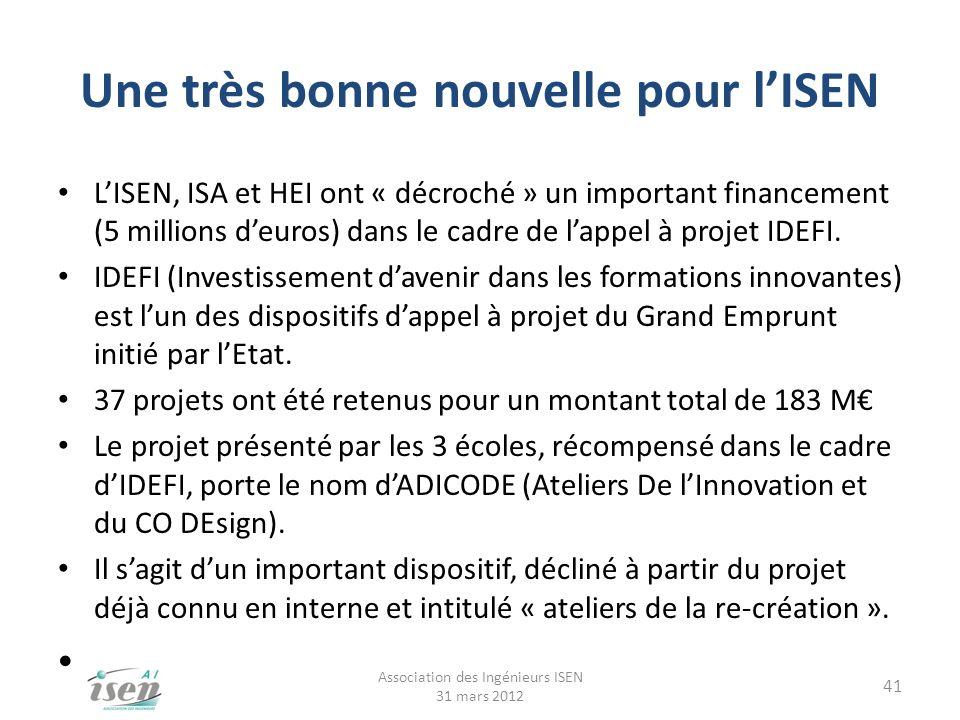 Une très bonne nouvelle pour lISEN LISEN, ISA et HEI ont « décroché » un important financement (5 millions deuros) dans le cadre de lappel à projet ID