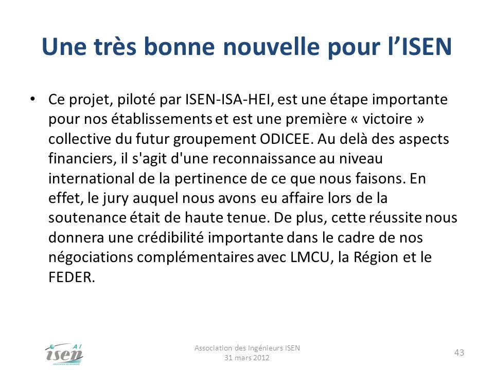 Une très bonne nouvelle pour lISEN Ce projet, piloté par ISEN-ISA-HEI, est une étape importante pour nos établissements et est une première « victoire