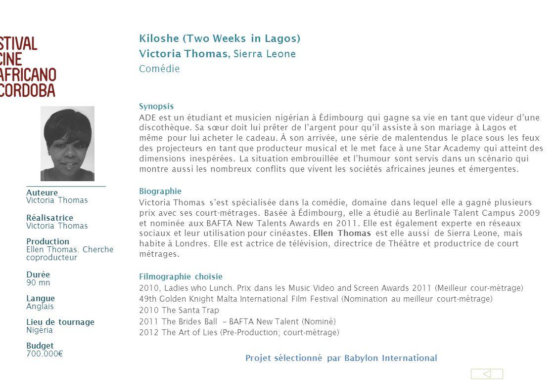 Kiloshe (Two Weeks in Lagos) Victoria Thomas, Sierra Leone Comédie Synopsis ADE est un étudiant et musicien nigérian à Édimbourg qui gagne sa vie en t
