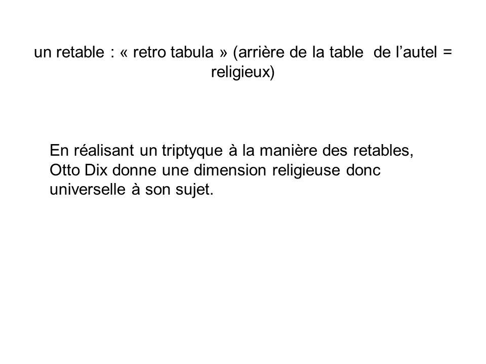 un retable : « retro tabula » (arrière de la table de lautel = religieux) En réalisant un triptyque à la manière des retables, Otto Dix donne une dime