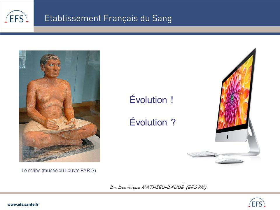 Évolution ! Évolution ? Le scribe (musée du Louvre PARIS) Dr. Dominique MATHIEU-DAUDÉ (EFS PM)