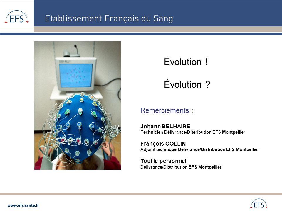 Évolution ! Évolution ? Remerciements : Johann BELHAIRE Technicien Délivrance/Distribution EFS Montpellier François COLLIN Adjoint technique Délivranc