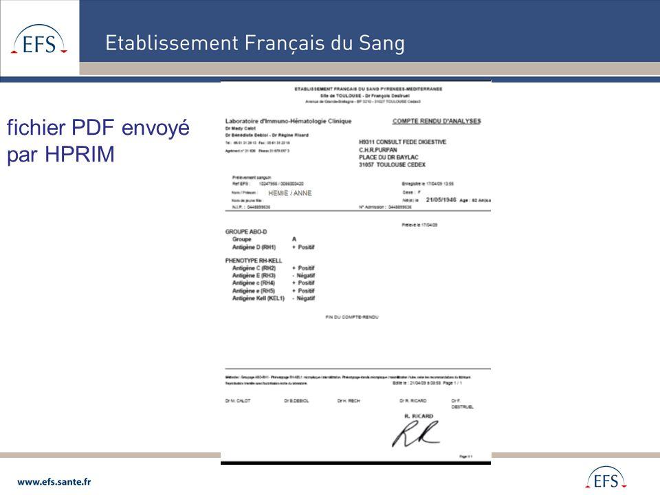 fichier PDF envoyé par HPRIM