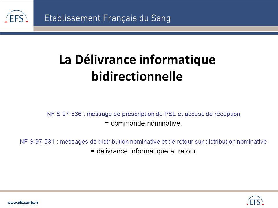 Réception EFS via le module commande Saisie informatique par lES Etablissement Français du Sang Etablissement de Soins Attente de lordonnance signée et des éventuels prélèvements Délivrance et envoi des produits Le retour sur prescription de PSL (AR) Retour dinformation