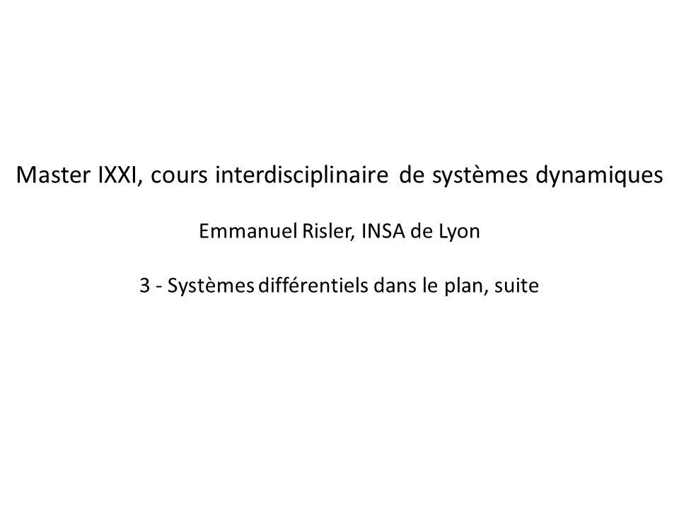 Master IXXI, cours interdisciplinaire de systèmes dynamiques Emmanuel Risler, INSA de Lyon 3 - Systèmes différentiels dans le plan, suite