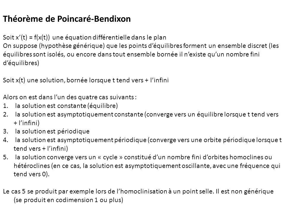 Théorème de Poincaré-Bendixon Soit x(t) = f(x(t)) une équation différentielle dans le plan On suppose (hypothèse générique) que les points déquilibres