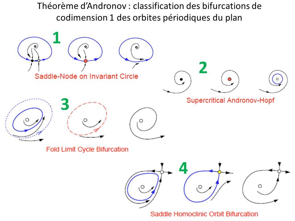 Théorème dAndronov : classification des bifurcations de codimension 1 des orbites périodiques du plan 1 2 3 4