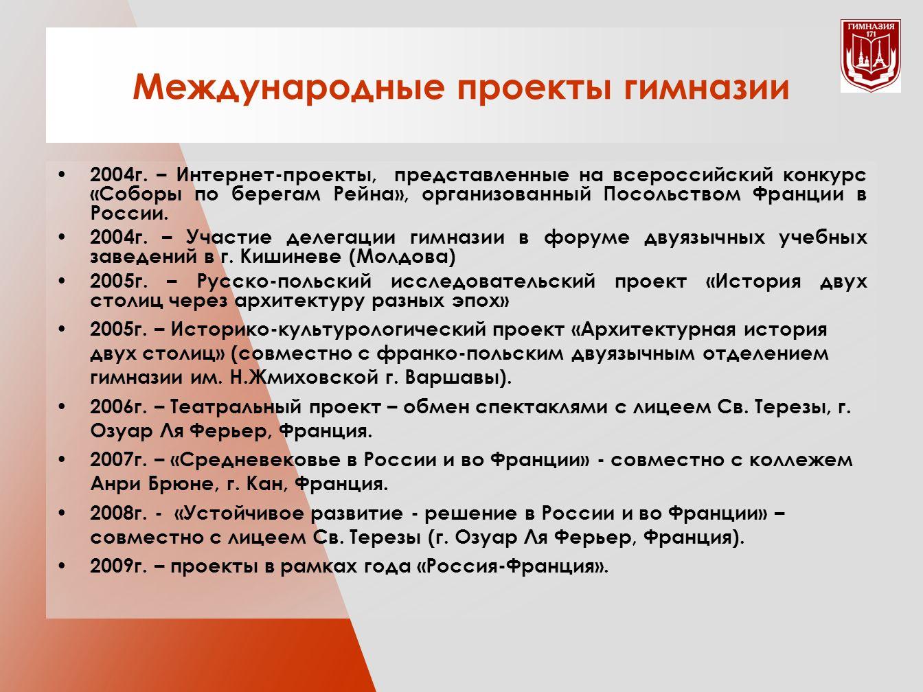 Международные проекты гимназии 2004г.