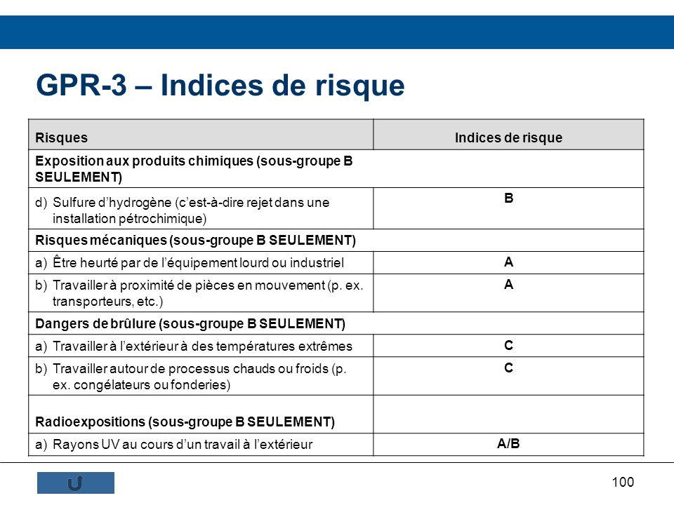 100 GPR-3 – Indices de risque RisquesIndices de risque Exposition aux produits chimiques (sous-groupe B SEULEMENT) d)Sulfure dhydrogène (cest-à-dire r