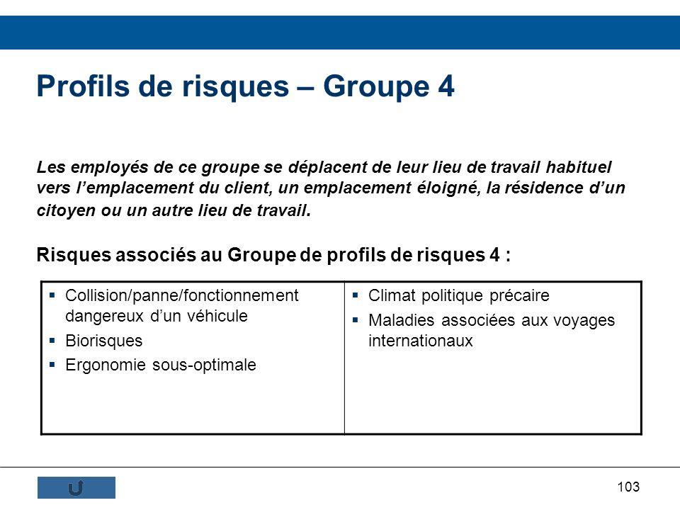 103 Profils de risques – Groupe 4 Les employés de ce groupe se déplacent de leur lieu de travail habituel vers lemplacement du client, un emplacement