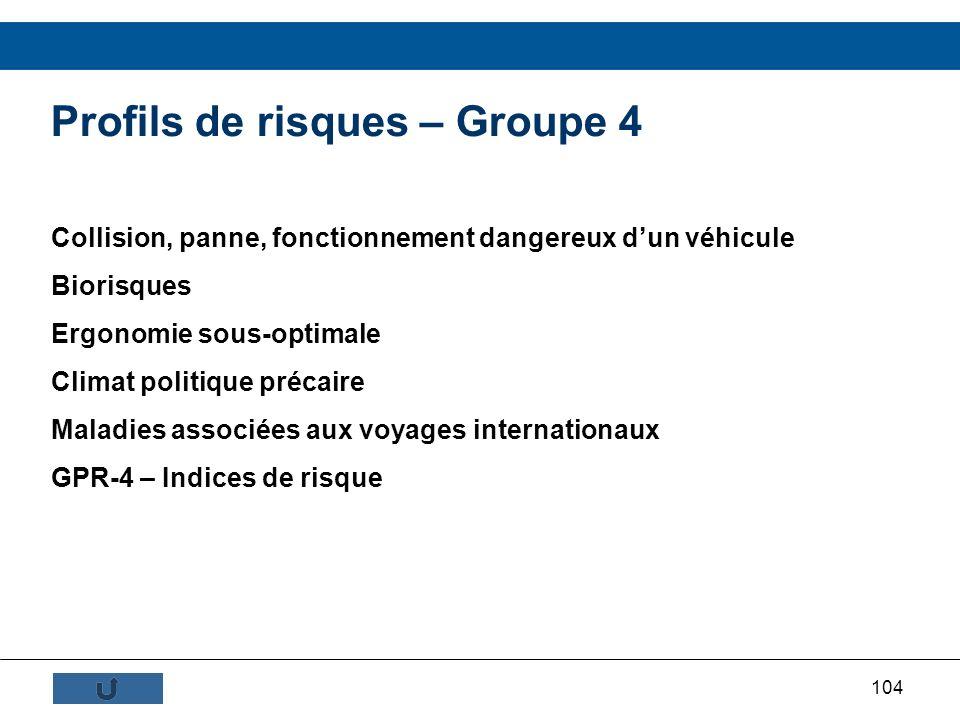 104 Profils de risques – Groupe 4 Collision, panne, fonctionnement dangereux dun véhicule Biorisques Ergonomie sous-optimale Climat politique précaire