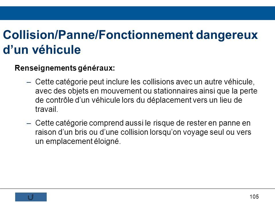105 Collision/Panne/Fonctionnement dangereux dun véhicule Renseignements généraux: –Cette catégorie peut inclure les collisions avec un autre véhicule