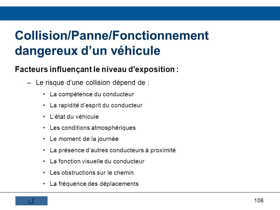 106 Collision/Panne/Fonctionnement dangereux dun véhicule Facteurs influençant le niveau d'exposition : –Le risque dune collision dépend de : La compé