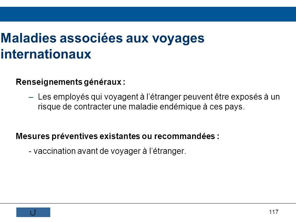 117 Maladies associées aux voyages internationaux Renseignements généraux : –Les employés qui voyagent à létranger peuvent être exposés à un risque de