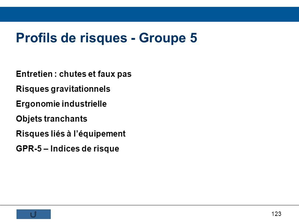 123 Profils de risques - Groupe 5 Entretien : chutes et faux pas Risques gravitationnels Ergonomie industrielle Objets tranchants Risques liés à léqui