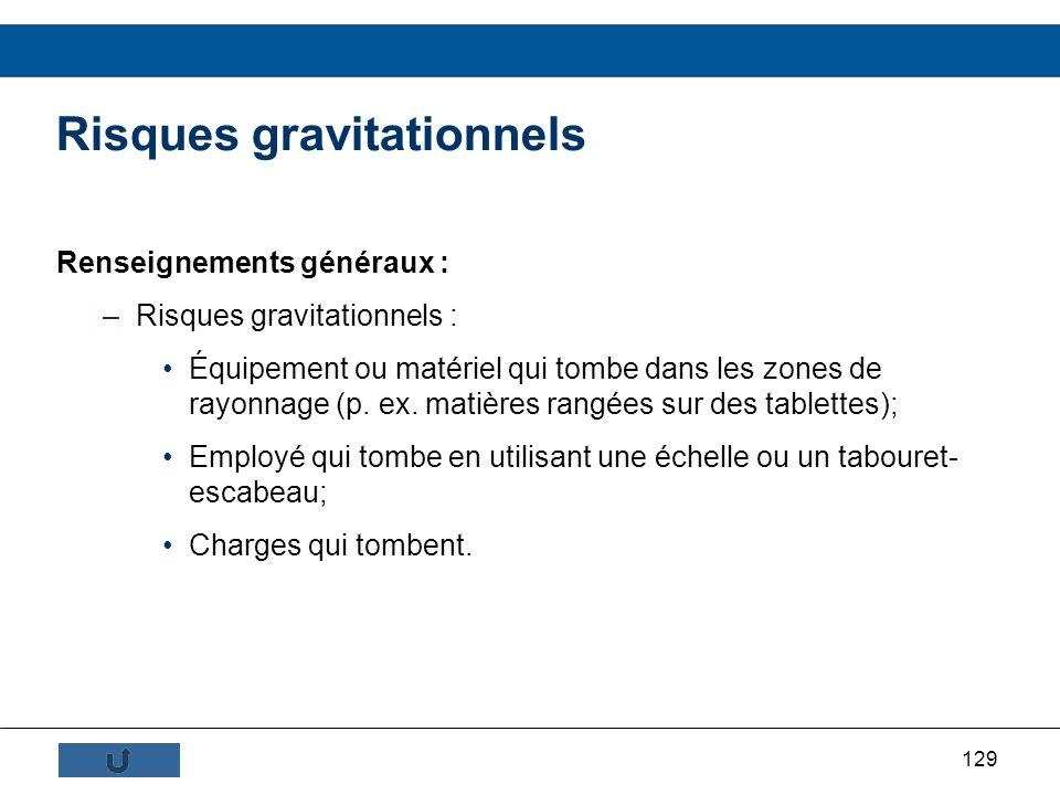 129 Renseignements généraux : –Risques gravitationnels : Équipement ou matériel qui tombe dans les zones de rayonnage (p. ex. matières rangées sur des