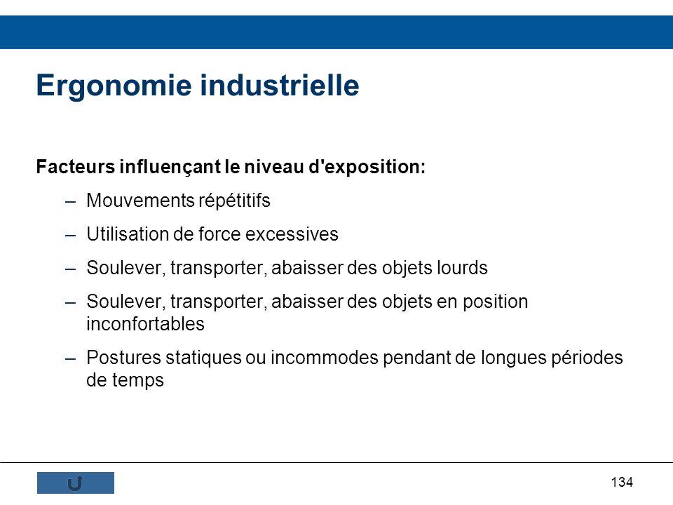 134 Ergonomie industrielle Facteurs influençant le niveau d'exposition: –Mouvements répétitifs –Utilisation de force excessives –Soulever, transporter