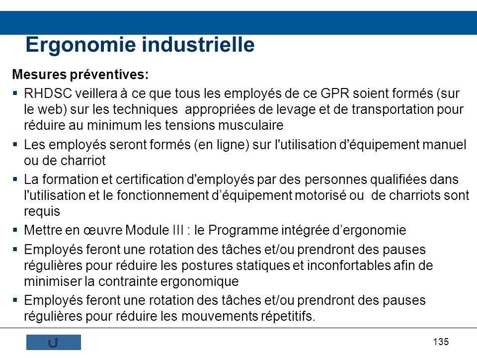 135 Mesures préventives: RHDSC veillera à ce que tous les employés de ce GPR soient formés (sur le web) sur les techniques appropriées de levage et de